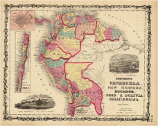 Venezuela, New Granada, Ecuador, Peru & Bolivia Chile And Guiana. Johnson and Browning 1860