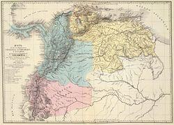 """Mapa de los tres departamentos Venezuela, Cundinamarca y Quito, que confomaron la República de Colombia y que muestra las campañas de la guerra de independencia entre 1821 y 1823. Tomado del """"Atlas físico y político de la República de Venezuela"""", 1840"""