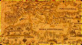 Detalle de la carta universal de Diego Ribero (Sevilla, 1529), uno de los mapas más antiguos con un Mediterráneo aparentemente exacto.